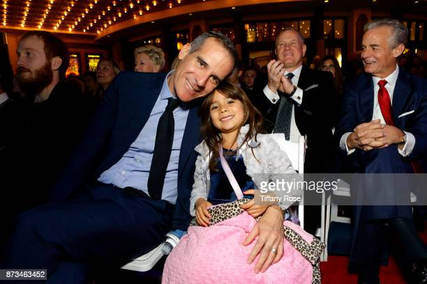 Los Angeles Mayor Eric Garcetti and daughter Maya at A California Christmas at the Grove Presented by Citi on November 12 2017 in Los Angeles...