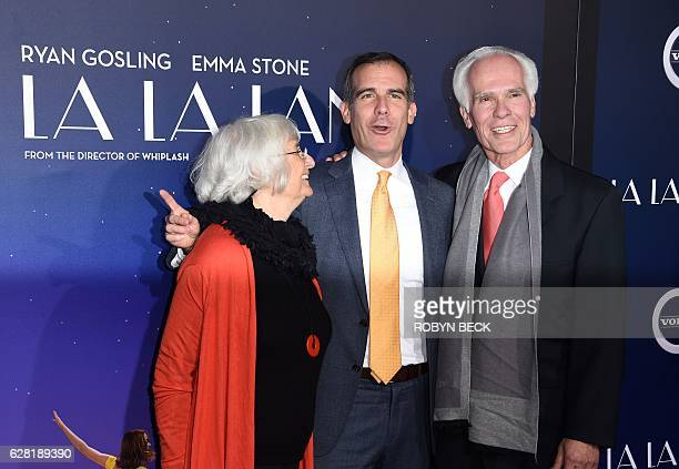 Los Angeles Mayor Eric Garcetti and his parents Sukey Garcetti and Gil Garcetti attend the premiere of Lionsgate's La La Land in the Westwood area of...
