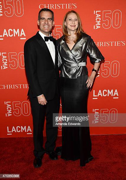 Los Angeles Mayor Eric Garcetti and his wife Amy Wakeland arrive at LACMA's 50th Anniversary Gala at LACMA on April 18 2015 in Los Angeles California