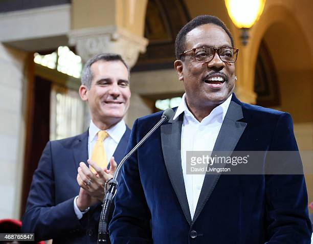 Los Angeles Mayor Eric Garcetti and recording artist Charlie Wilson attend the LA City Council's African American Heritage Month Celebration at Los...