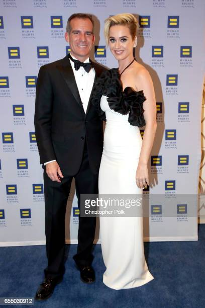 Los Angeles Mayor Eric Garcetti and singer Katy Perry at The Human Rights Campaign 2017 Los Angeles Gala Dinner at JW Marriott Los Angeles at LA LIVE...