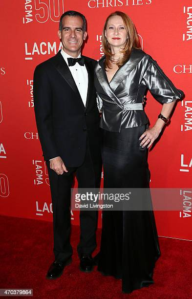 Los Angeles Mayor Eric Garcetti and wife Amy Wakeland attend LACMA's 50th Anniversary Gala at LACMA on April 18 2015 in Los Angeles California