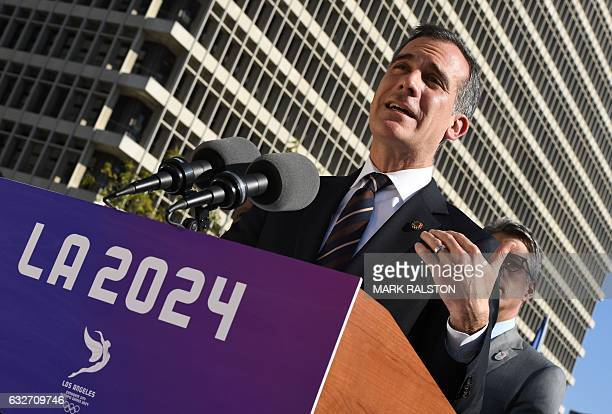 Los Angeles Mayor Eric Garcetti announces the Los Angeles City Councils 130 unanimous final approval vote to bid for the 2024 Summer Olympics in Los...