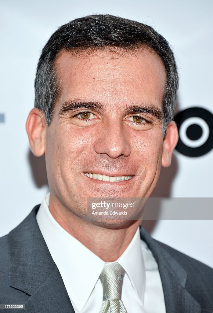 Los Angeles Mayor Eric Garcetti arrives at the 2013 Outfest Opening Night Gala of C.O.G. at The Orpheum Theatre on July 11, 2013 in Los Angeles, California.