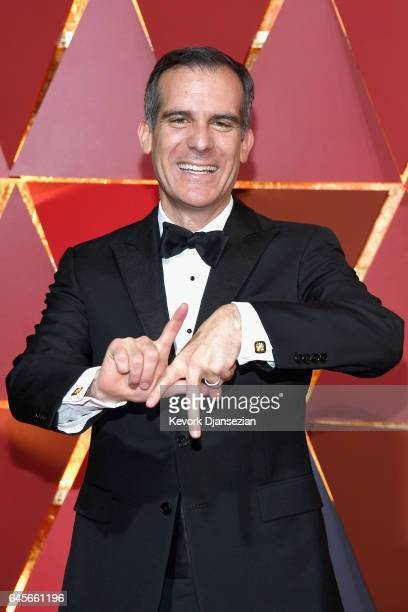 Los Angeles Mayor Eric Garcetti attends the 89th Annual Academy Awards at Hollywood Highland Center on February 26 2017 in Hollywood California