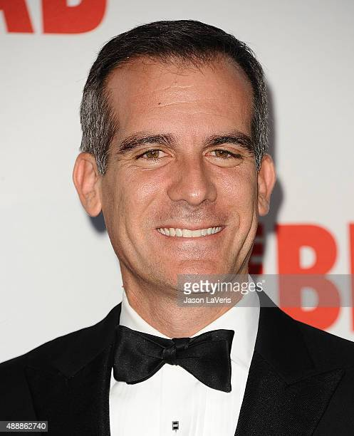 Los Angeles Mayor Eric Garcetti attends the Broad Museum black tie inaugural dinner at The Broad on September 17 2015 in Los Angeles California