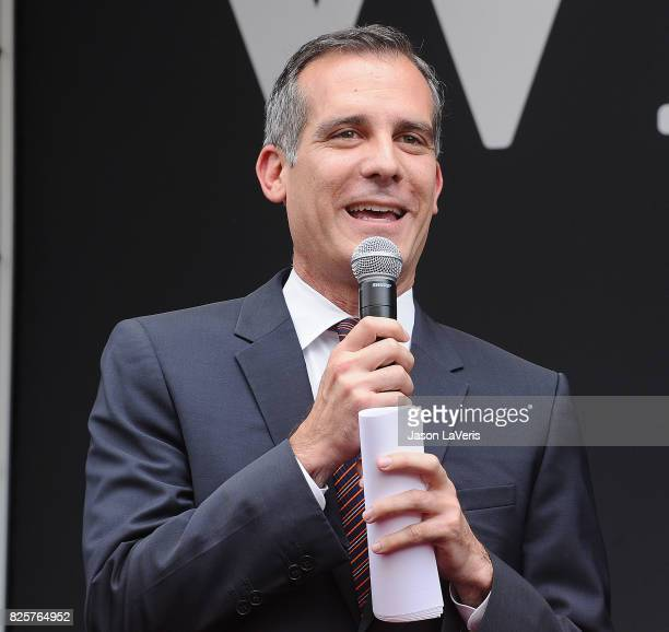 Los Angeles Mayor Eric Garcetti attends the Will Grace start of production kick off event and ribbon cutting ceremony at Universal City Plaza on...