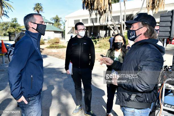 Los Angeles Mayor Eric Garcetti, Curative CEO Fred Turner and CORE chairperson Sean Penn visit a coronavirus vaccination site at Lincoln Park on...