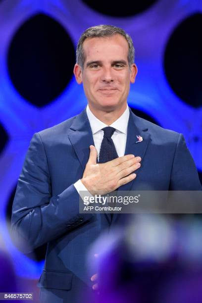 Los Angeles Mayor Eric Garcetti gets emotional after his city was awarded with 2028 Olympic Games during the 131st International Olympic Committee...