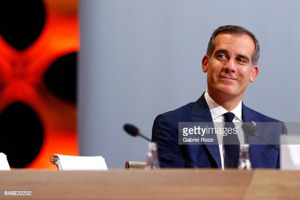 Los Angeles Mayor Eric Garcetti looks on during the 131th IOC Session 2024 2028 Olympics Hosts Announcement at Lima Convention Centre on September 13...