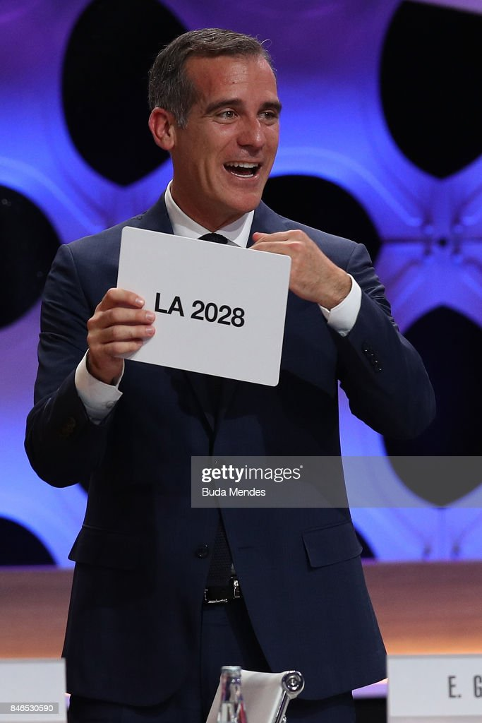 Los Angeles Mayor Eric Garcetti reacts after the confirmation of LA as Host City for 2028 Olympic Games during the 131th IOC Session - 2024 & 2028 Olympics Hosts Announcement at Lima Convention Centre on September 13, 2017 in Lima, Peru.