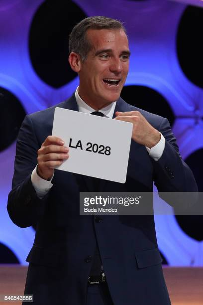 Los Angeles Mayor Eric Garcetti reacts after the confirmation of LA as Host City for 2028 Olympic Games during the 131th IOC Session 2024 2028...