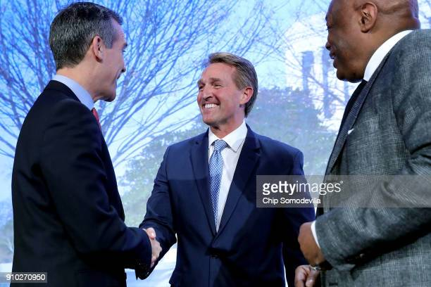 Los Angeles Mayor Eric Garcetti Sen Jeff Flake and former San Francisco Mayor Willie Brown visit during the US Conference of Mayors 86th annual...