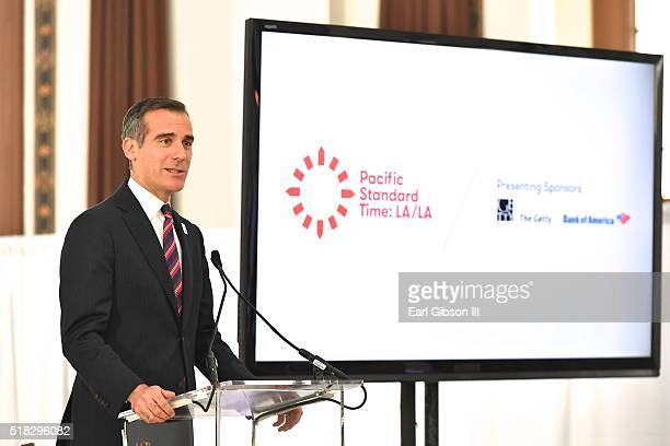 Los Angeles Mayor Eric Garcetti speaks as The Getty Announces New Details About Pacific Standard Time LA/LA at Vibiana on March 30 2016 in Los...