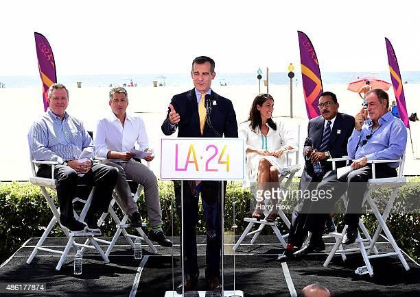 Los Angeles Mayor Eric Garcetti speaks at a press conference as he is joined by USOC CEO Scott Blackmun LA 2024 Chairman Casey Wasserman Olympian...