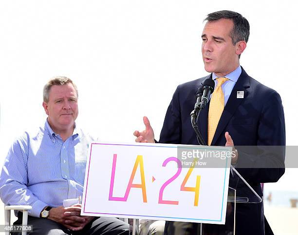 Los Angeles Mayor Eric Garcetti speaks at a press conference with USOC CEO Scott Blackmun to officially launch a Los Angeles 2024 Olympic and...