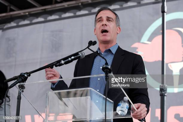 Los Angeles Mayor Eric Garcetti speaks at the 4th Annual Women's March LA Women Rising at Pershing Square on January 18 2020 in Los Angeles California