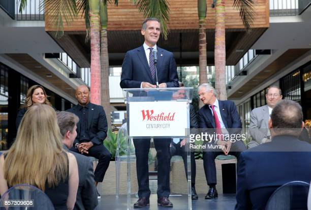 Los Angeles Mayor Eric Garcetti speaks at the Westfield Century City Reopening Celebration on October 3 2017 in Century City California