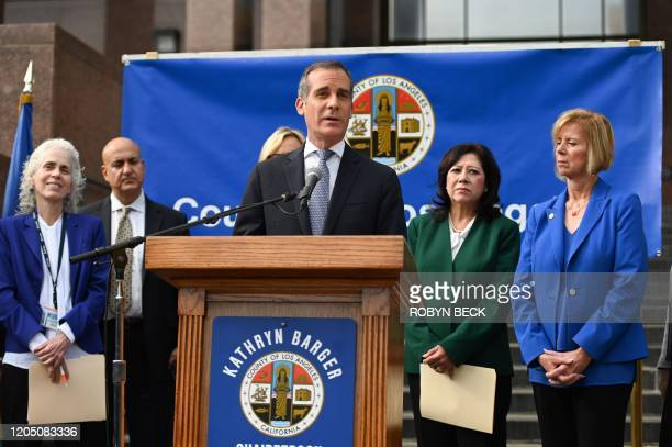 Los Angeles Mayor Eric Garcetti speaks during a Los Angeles County Health Department press conference on the novel coronavirus on March 4 2020 in Los...