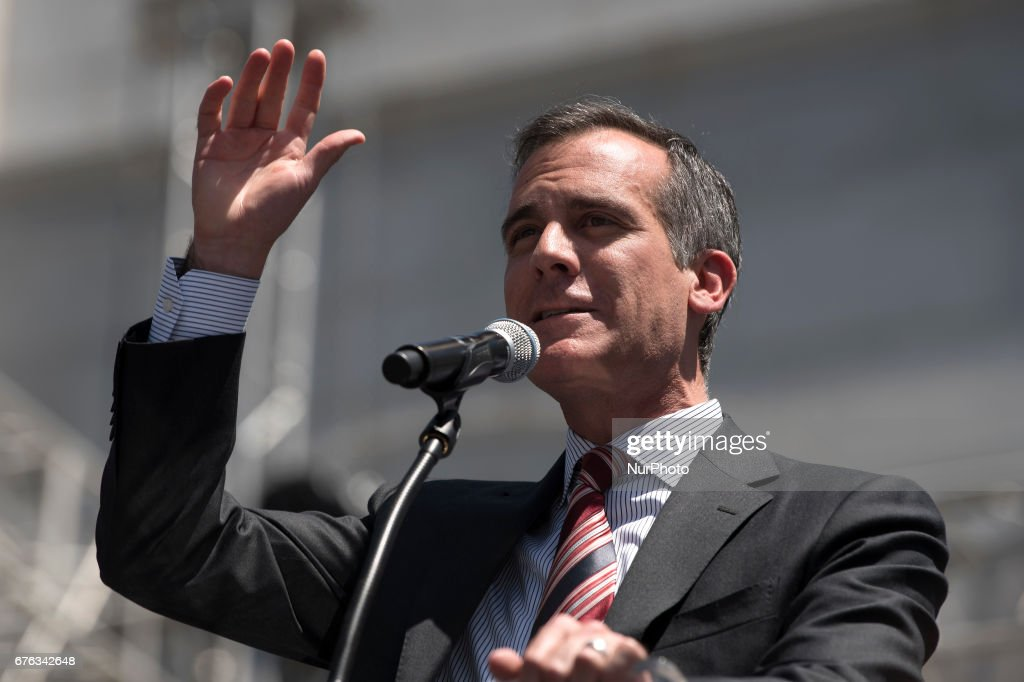 Los Angeles Mayor, Eric Garcetti, speaks during a May Day protest in Los Angeles, California on May 1, 2017.