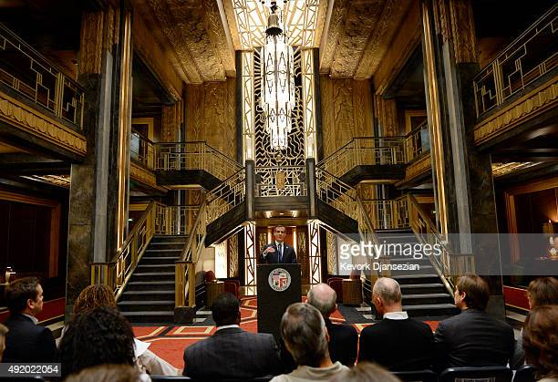 Los Angeles Mayor Eric Garcetti speaks during a news conference inside Hotel Cortez on the set of 'American Horror Story Hotel' discussing the impact...
