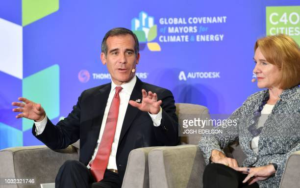 Los Angeles Mayor Eric Garcetti speaks during a panel discussion at the C40 Cities For Climate The Future Is Us kickoff event at San Francisco's City...