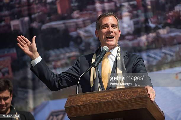 Los Angeles Mayor Eric Garcetti speaks onstage at the Los Angeles Football Club stadium groundbreaking ceremony on August 23 2016 in Los Angeles...