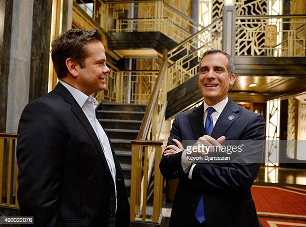 Los Angeles Mayor Eric Garcetti speaks with Lachlan Murdoch executive chairman of 21st Century Fox during his visit to the set of 'American Horror...