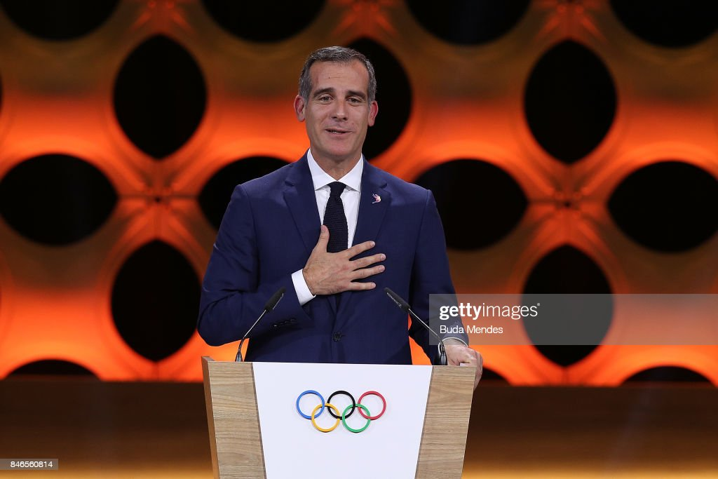 Los Angeles Mayor Eric Garcetti talks during the 131th IOC Session - 2024 & 2028 Olympics Hosts Announcement at Lima Convention Centre on September 13, 2017 in Lima, Peru.