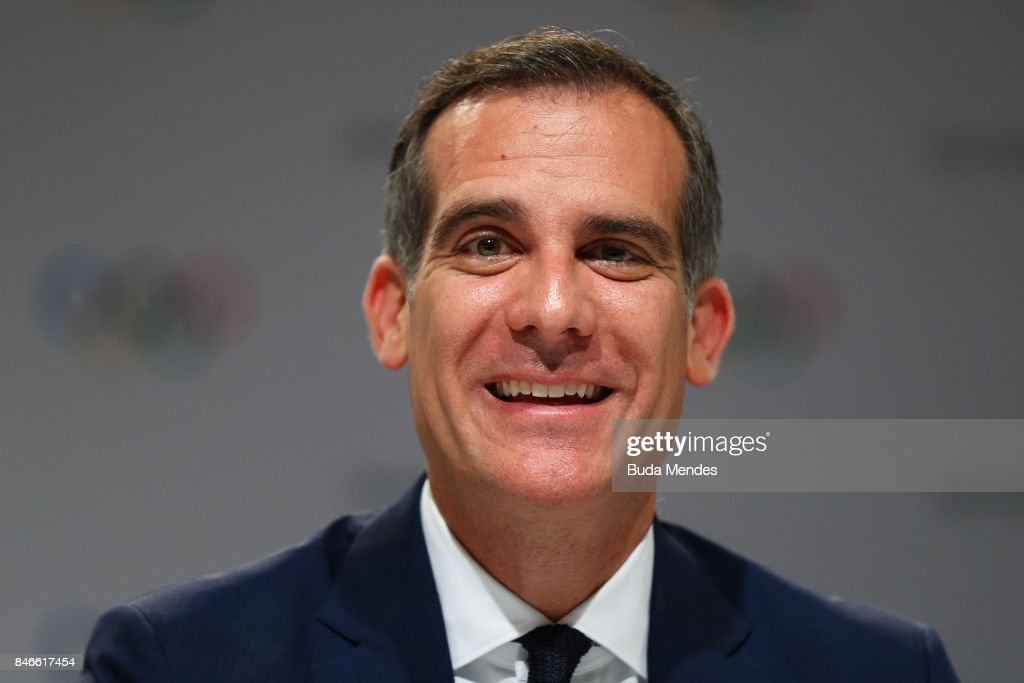 Los Angeles Mayor Eric Garcetti talks to media during a joint press conference between IOC, Paris 2024 and LA2028 during the131th IOC Session - 2024 & 2028 Olympics Hosts Announcement at Lima Convention Centre on September 13, 2017 in Lima, Peru.
