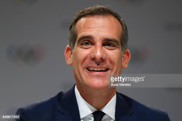 Los Angeles Mayor Eric Garcetti talks to media during a joint press conference between IOC Paris 2024 and LA2028 during the131th IOC Session 2024...
