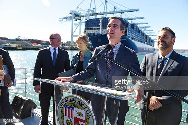 Los Angeles Mayor Eric Garcetti welcomes the CMA CGM Benjamin Franklin the largest container ship to ever call at a North America port during a press...