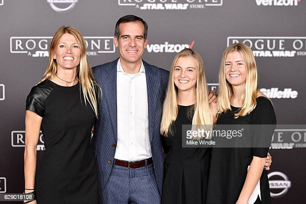 Los Angeles Mayor Eric Garcetti with Amy Wakeland and guests attend the premiere of Walt Disney Pictures and Lucasfilm's Rogue One A Star Wars Story...