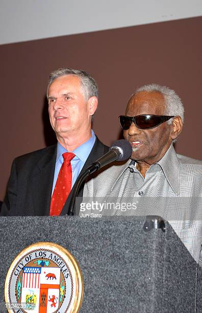 Los Angeles Mayor James Hahn and Ray Charles during Ray Charles to be Named LA's 'Cultural Treasure' at African American Museum in Los Angeles...