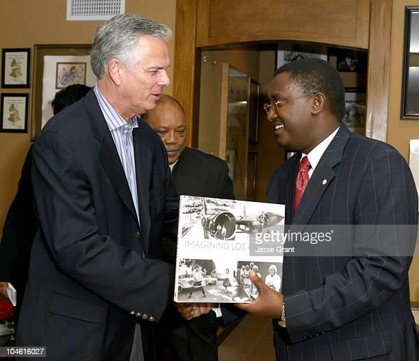 Los Angeles Mayor James Hahn and Theoneste Mutsindashyaka Mayor of Kigali Rwanda