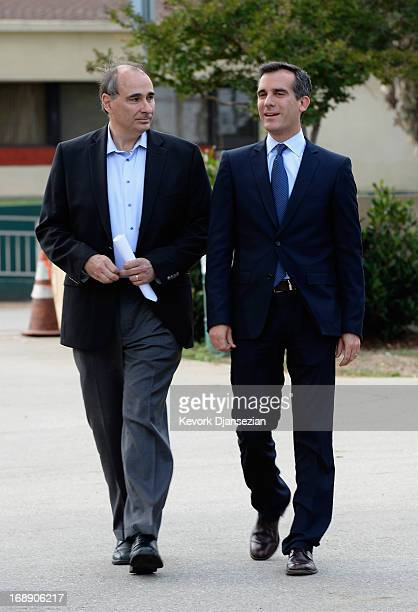 Los Angeles Mayoral candidate and City Councilman Eric Gracetti and David Axelrod political adviser to President Barack Obama arrives to a campaign...