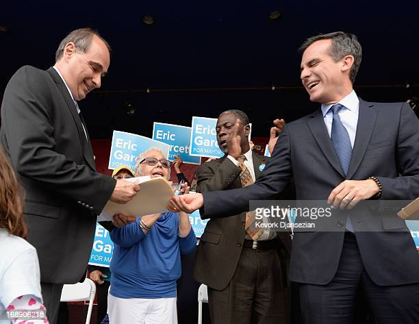 Los Angeles Mayoral candidate and City Councilman Eric Gracetti and David Axelrod political adviser to President Barack Obama attend a campaign rally...