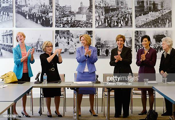 Los Angeles mayoral candidate Wendy Greuel receives endorsements from US House Democratic leader Nancy Pelosi US Sen Barbara Boxer US Reps Judy Chu...
