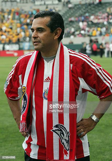 Los Angeles mayorelect Antonio Villaraigosa stands on the field wearing a Chivas USA jersey before the MLS match between the Los Angeles Galaxy and...