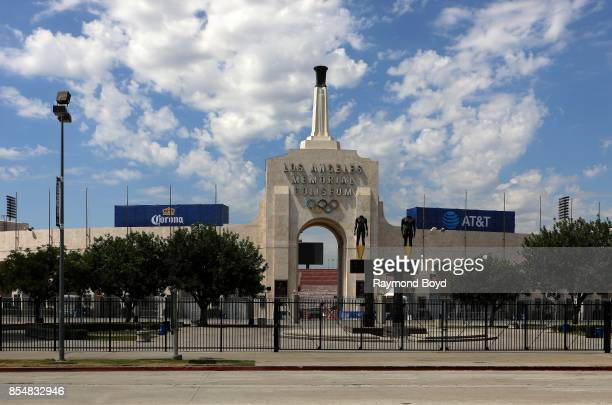 Los Angeles Memorial Coliseum home of the Los Angeles Rams and University of Southern California Trojans football teams in Los Angeles California on...