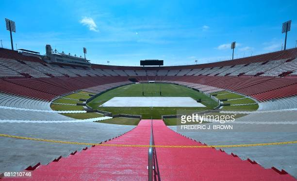 Los Angeles Memorial Coliseum is pictured on May 9 as the International Olympic Committee evaluation committee visits Los Angeles ahead of the...