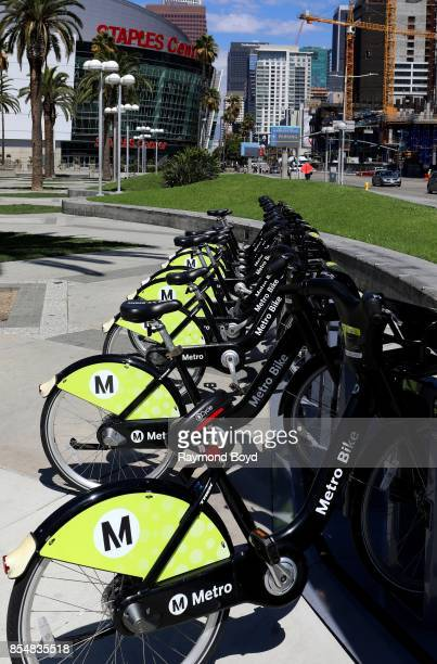 Los Angeles Metro BikeShare bicycles sits outside the Los Angeles Convention Center in Los Angeles California on September 11 2017