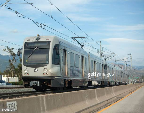 los angeles metro rail train - metra train stock photos and pictures