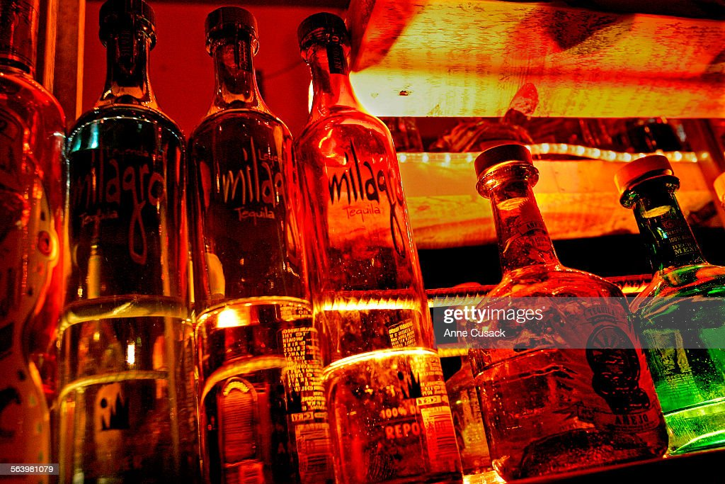 01/17/2008. Los Angeles. Milagro tequila (left) and Cabo Wabo tequila (right). The Pink Taco's tequ : News Photo