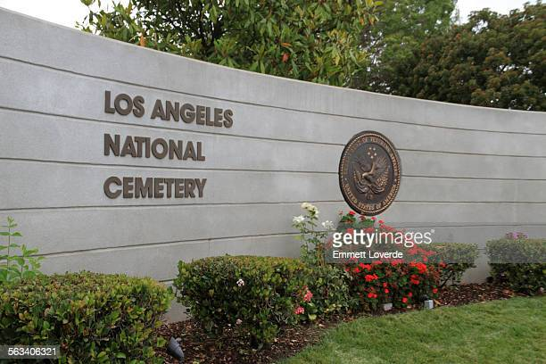 los angeles national cemetery entrance - westwood neighborhood los angeles stock pictures, royalty-free photos & images
