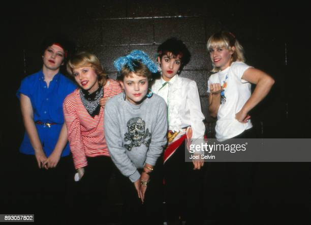 Los Angeles new wave band The GoGo's backstage at the Old Waldorf San Francisco USA March 12 1980 Left to right bassist Margot Olavarria drummer Gina...