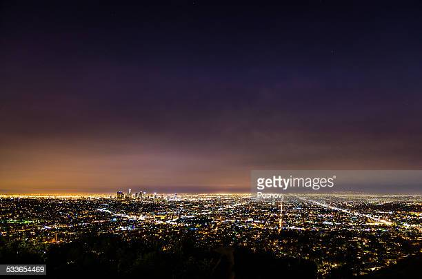 los angeles night skyline - hollywood california stock pictures, royalty-free photos & images