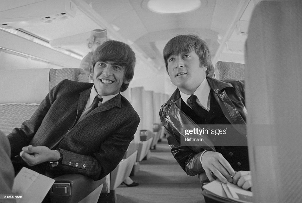 One Half Of The Beatles Singing Group George Harrison L And John Lennon