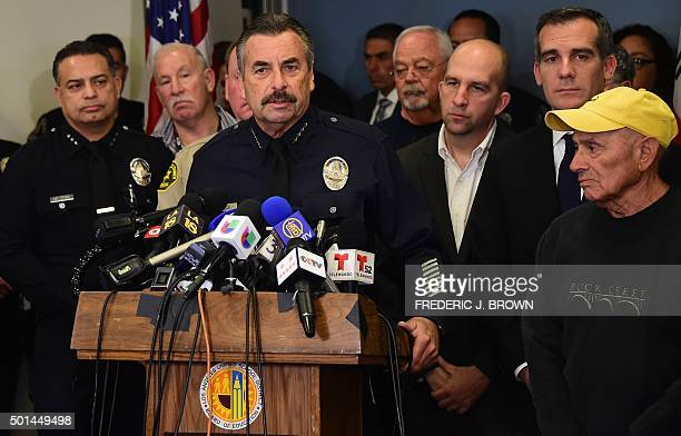 Los Angeles police chief Charlie Beck addresses the media at Los Angeles Unified School District headquarters where schools superintendant Ramon...