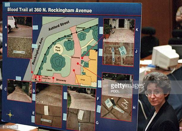 Los Angeles Police Criminalist Andrea Mazzola stands next to a blood trial chart of OJ Simpson's Rockingham residence 20 April during direct...